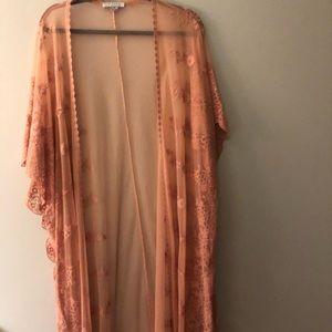 Pink lace duster kimono